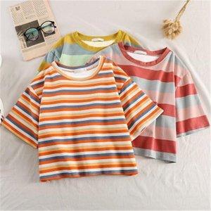 Summer Graphic Striped Short Tees Women Short Sleeve Loose tshirt Korean Kawaii Rainbow Stripes Tshirts Harajuku Casual O neck Rrop Top