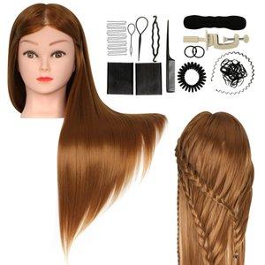 cabeza de maniquí de oro 24-26in Cabeza entrenamiento 100% de la fibra sintética de pelo de peluquería del maniquí muñeca Peluquería Modelo Práctica Styling