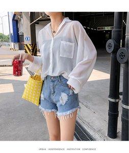 2020 spring and summer chiffon shirt long-sleeved sunscreen women's long section loose outer jacket shirt