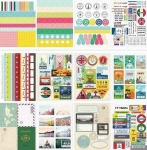 Wholesale 12sheetsDIY Scrapbooking Vintage Travel Paper Stickers Diary Photo Wedding Decoration Label DIY Kawaii Stationery 38aG#