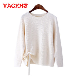 YAGENZ Spring Autumn Clothes Knitted Sweater Women Korean O neck Pullover Long sleeved Sweater Female Lace Up Casual 272