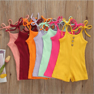 Kids Designer Clothes Girls Sling Jumpsuits Baby Solid Lace-up Rompers Summer Bodysuits Pants Casual Boutique Playsuits Climb Clothes B7591