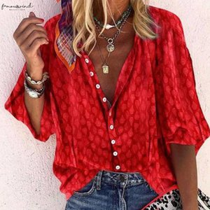 Womens V Neck Half Sleeve Shirt Single Breasted Print Regular Solid Shirts Top For Femaninie 2020 Summer Autumn Fashion Ladies Clothing