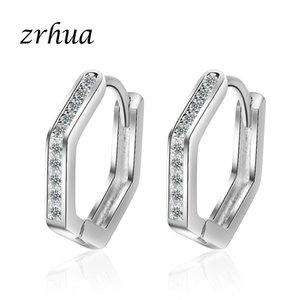 ZRHUA 925 Sterling Silver Hypoallergenic Earrings Zircon Hoop Earring for Women Girl Simple Jewelry Brincos Joyas De Plata 925