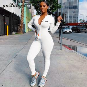 yuqung Fitness Active Wear i pagliaccetti delle donne lettera sexy di modo tuta 2020 autunno manica lunga cerniera allenamento sportivo Tute