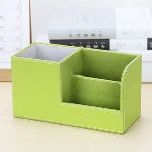 다기능 가죽 펜 홀더 세트 비즈니스 간단한 사무실 책상 문구 원격 작은 저장 상자를 제어