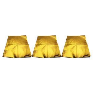 """مل 3pcs العادم ورقة الحرارة التفاف احباط حصيرة الحرارة حاجز تعكس الذهب 39 \ """"X 47 \"""""""