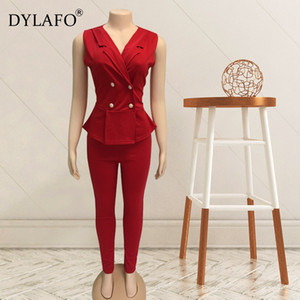 Work Pant Suits 2 Piece Set for Women Business interview suit set V neck uniform smil Blazer and Pencil Pant Office Lady suit