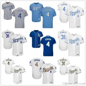Los hombres de encargo al por mayor de Mujeres Jóvenes KC Royals Jersey # 4 Alex Gordon 31 Ian Kennedy Azul Gris camisetas de béisbol
