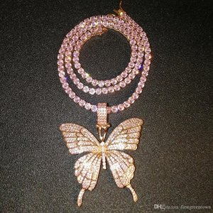 Fine Jewelry Rose Gold Micro Pave Pink CZ Cubic Zircon Diamond Cuban Link Chain Tennis Butterfly Necklace Hip Hop Jewelry