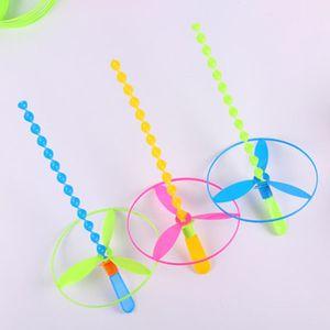 Kindergarten Flying Fairy Hand Push UFO Children's Day Nostalgic Toys Bamboo Dragonfly Flying Toy Gift for kids