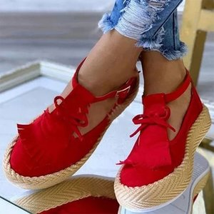 2020 Summer Women Fringe Shoes Female Casual Ankle Flats Woman Comfortable Platform Buckle Shoes Ladies Fashion Women's Footwear