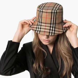 Tapas plegables de algodón de las mujeres de cuadrícula de banda del sombrero del cubo para los hombres del pescador playa parasol plegable Venta Hombre Cap Bowler casquette