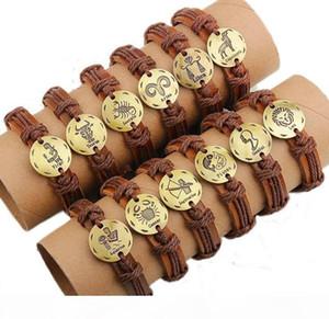 L Twelve Constellations Leather Bracelets Leather Wrap Bracelets Zodiac Leather Bracelet For Men