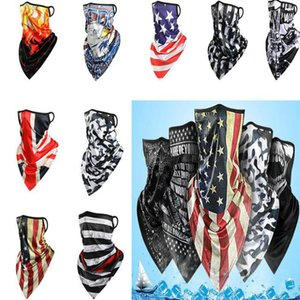hot America Magic scarf sunscreen ice silk riding mask breathable printed triangle scarf for men and women Party masks DA585