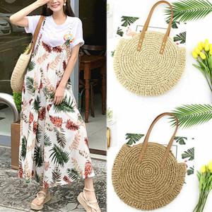 Fashion Women ronde circulaire en rotin en osier en osier paille tissé bandoulière plage sac de panier