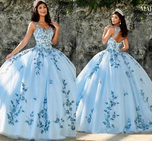 2020 Blue Sky Quinceanera perles à encolure dégagée Appliques princesse robe de bal douce 16 Robe Tulle Princesse Prom Party Robes