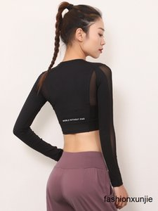 Jiu mai Yipin sexy transparent short yoga clothes top women tight quick-drying T-shirt long-sleeve sportswear gym
