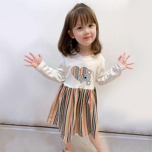 Girl Striped Stitching Dress 2020 Autumn New Girls Cartoon Love Heart Bear Princess Dress Children Long Sleeve Pleated Dresses S271