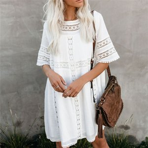 Tunic Cover-ups 2020 White Tunic Sexy Hollow Out O-Neck Beach Mini Dress Summer Women Beach Wear Swim Suit Cover Up Sarong Q907 CX200714