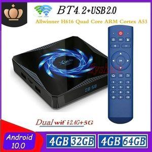 X96Q ماكس الروبوت 10.0 TV صندوق ALLWINNER H616 4G + 32GB / 64GB المزدوج واي فاي 2.4G + 5G بلوتوث 5.0 X96Q كاجا دي التلفزيون الروبوت