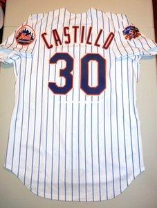 Cheap Retro Top NEW New #30 ALBERTO CASTILLO NEW YORK 1997 white JR Patch Jersey Piazza Mens Stitched Baseball jerseys