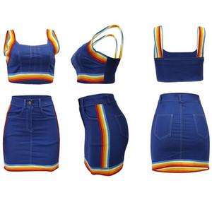 2pcs Women Rainbow Suit Tacksuit Denim Striped Tank Bustiers Corsets Crop Tops Night Club High Waist Mini Pencil Skirt