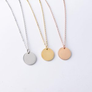 New Blank Round Pendant Necklace Stainless Steel Necklace Gold Minimalist Round Blank Dog Tag Coin Pendant Necklace Jewelry For Buyer Own