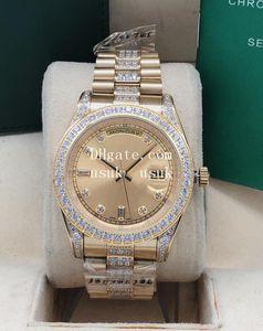 10 estilo para hombre 41mm 18k oro diamante 128238 128348 3atm impermeable Asia 2813 Movimiento mecánico automático relojes para hombres