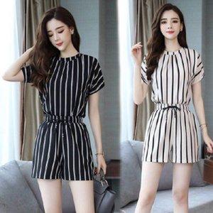 2020 novo temperamento verão estilo coreano emagrecimento corpo roupas hot pants hot pants moda faixa vertical de duas peças macacão