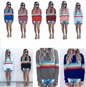 2020 Striped Hoodie Long Sleeve T shirt Women Summer Autumn Spring Pullover Tops Sweatshirt Girls O-Neck Blouse Hoodies Hot Sale D71514