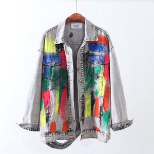 Kore Vintage Graffiti baskı kot ceket kadınlar 2020 sonbahar veste femme mujer uzun bf delikleri kot ceket Modis chaqueta Loose