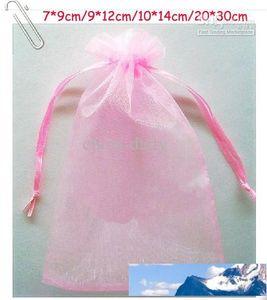 Free Ship 200pcs Pink 7*9cm 9*12cm 10*14cm 20*30cm Organza Jewelry Bag Wedding Party Candy Gift Bags