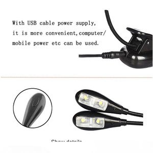 LED Clip Book Light Music Stand Light Double Head USB 4leds Reading Lamp for Table, Headboard and Computer