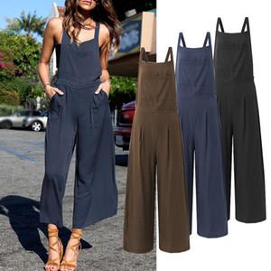 Women Sleeveless Jumpsuit Wide Leg Playsuit ZANZEA Pockets Solid Bib Cargo Pants Elastic Waist Tank 2020 Trousers Oversized 5XL