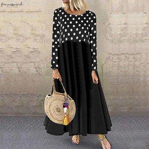 2020 Summer Vest Dress Women Sundress Bohemian Printed Long Sleeve Beach Party Long Vestido Femininas Sarafans Dress Femme Robe