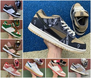 2020 Travis Scotts x SB Dunk Low Safari Kumquat Mens Correndo Sports Shoes sapatos Chunky Dunky Safari Sneakers Pine Green White Skateboarding