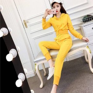 Tracksuit For Women 2020 New Nightclub Ladies Fashion Ladies Hooded Short Jacket Casual 2 Piece Set Women Feet Pants Suit