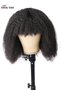 Ishow Afro Kinky Curly Curto Bob Wigs reta perucas de cabelo humano com franja solta profunda peruana corpo Nenhum Lace Wigs indiana da Malásia cabelo