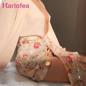 Karlofea Elegant Floral Sequined Skirts Women Chic Asymmetrical Front Drop Draped Mini Wrap Skirt Sexy Club Party Outfits Skirt T200712