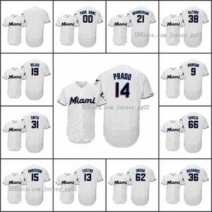 MiamiMarlinsMen # 14 Martin Prado 22 Sandy Alcantara 19 Miguel Rojas Donne gioventù 150 ° Anniversario Flex Base Custom Home Jersey