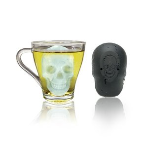 3D Big Skull Ice Tray 4 Holes Position Single Hole Ices Molds Black Silicone Cake Moulds Creative 11fla L1