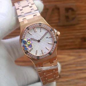 2020 nuovo diamante 33mm Reale Guarda le donne sterili Oak caso quadrante in acciaio inossidabile al quarzo orologi da polso orologi di alta qualità