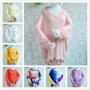 girls women fashion colored soft real hairy mohair angora wool o-neck loose long sleeved spring autumn pullover jumper sweater