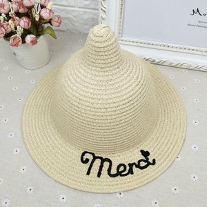 Children's Korean Magic straw style personalized letter magic pure color cute girls' hat baby straw hat