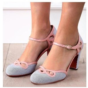 Women High Heels Summer Hollow Out Sweet Polka Dot Sandals Buckle Strap Retro Round Toe Ladies Pumps Wedding Party Shoes