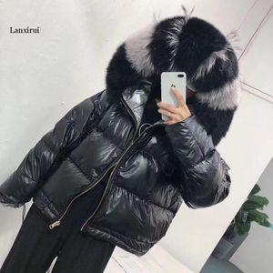 Women Double Sided Silver Golden Duck Coat Winter Large fakel Fur Collar Waterproof Jacket Hooded Snow Outerwear