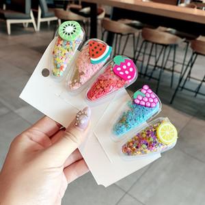 u1XcZ Güney Kore yeni renk şeffaf çocuk meyve saç tokası PVC yan Fruit pul headdress payetler klip bebek BB yan klip h quicksand