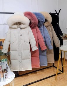 Grand Veste à capuche en fourrure 90% duvet de canard long manteau chaud Bouton neige Outwear Femmes Big horn Pocket Parkas