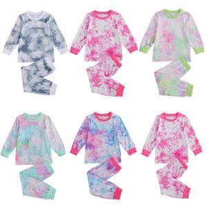 أطفال الرضع طفل رضيع فتاة التعادل صبغ الملابس بذلات عادية التعادل صبغ طويل الأكمام تي شيرت + سروال مطاطا زنار تتسابق 2-7 سنوات